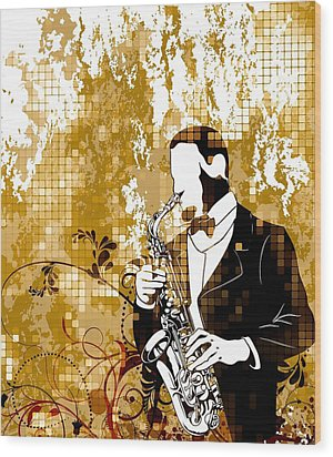 A Love For Sax Wood Print by Stanley Mathis