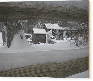 A Mabry Mill Winter Wood Print by Diannah Lynch