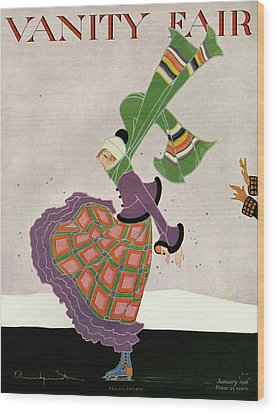 A Magazine Cover For Vanity Fair Of A Woman Wood Print by Ethel Rundquist
