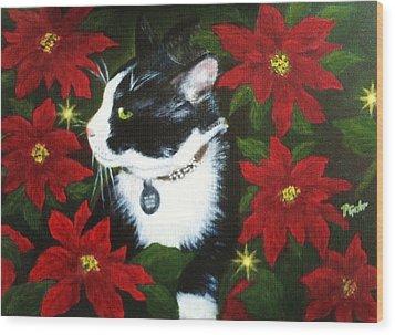 Tuxedo Cat Trouble  Wood Print