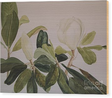 Wood Print featuring the painting A Magnolia Duet by Nancy Kane Chapman