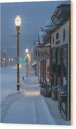 A Maine Street Christmas Wood Print by Patrick Downey