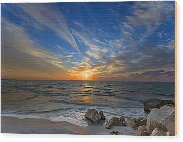 Wood Print featuring the photograph A Majestic Sunset At The Port by Ron Shoshani