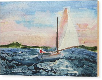 Wood Print featuring the painting A Man And His Boat by Michael Helfen