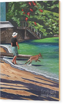 Wood Print featuring the painting A Man And His Dog by Laura Forde
