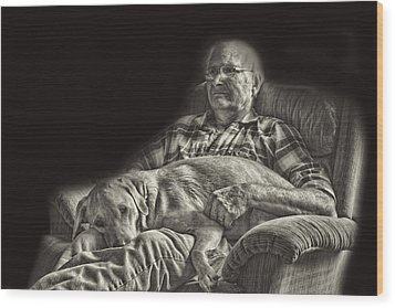 A Man And His Dog Wood Print by Linda Phelps