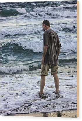 a Man and the Sea Wood Print by Ginette Callaway