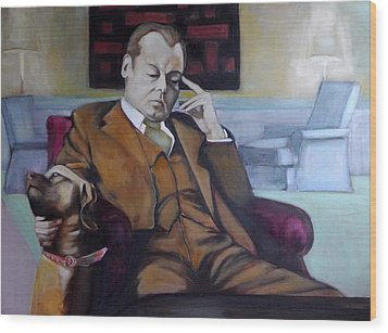 Wood Print featuring the painting A Man's Best Friend by Irena Mohr
