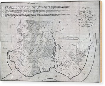 A Map Of General Washingtons Farm Wood Print by Everett