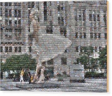 A Marilyn Mosaic Wood Print by David Bearden