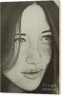 Wood Print featuring the painting A Mark Of Beauty - Beauty by Malinda Prudhomme