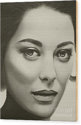 Wood Print featuring the painting A Mark Of Beauty - Marion Cotillard by Malinda Prudhomme