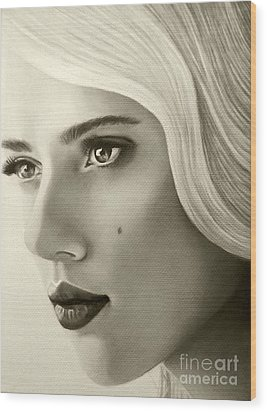 Wood Print featuring the painting A Mark Of Beauty - Scarlett Johansson by Malinda Prudhomme