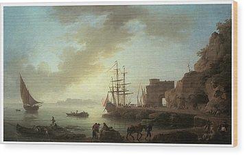 A Mediterranean Port At Dawn Wood Print by Claude-Joesph Vernet
