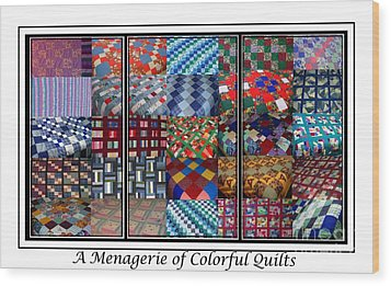 A Menagerie Of Colorful Quilts Triptych Wood Print by Barbara Griffin