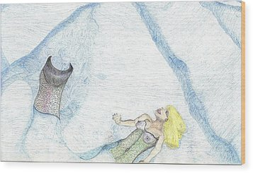 Wood Print featuring the drawing A Mermaids Moment by Kim Pate