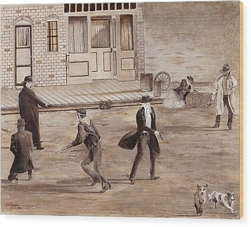A Minor Misunderstanding Tombstone Az Wood Print by Stuart B Yaeger