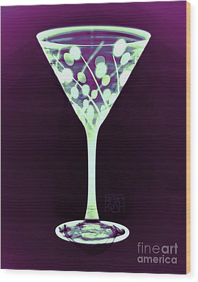 A Mint Martini On Plum Wood Print