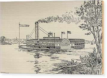 A Mississippi Steamer Off St Louis From American Notes By Charles Dickens  Wood Print by EH Fitchew