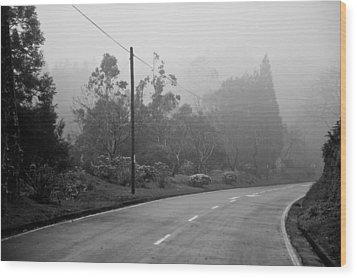 A Misty Country Road Wood Print