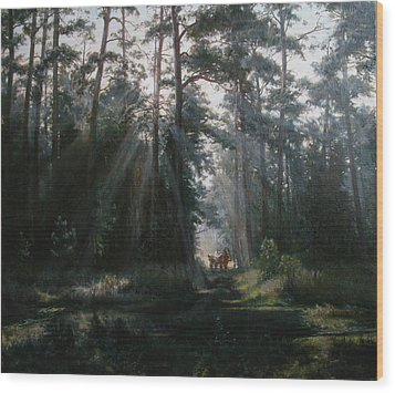 A Misty Morning Wood Print by Korobkin Anatoly