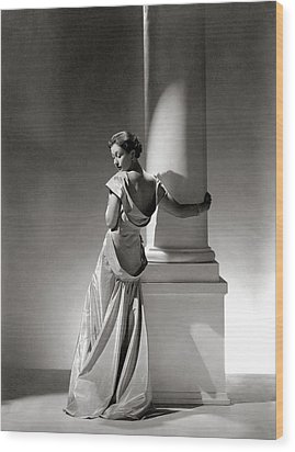 A Model In A Gown By Vionnet And Jewelry Wood Print by George Hoyningen-Huene