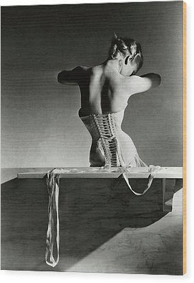 The Mainbocher Corset Wood Print by Horst P Horst