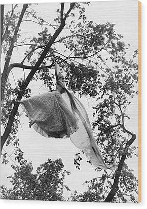 A Model Wearing A Dress In A Tree Wood Print by Gene Moore