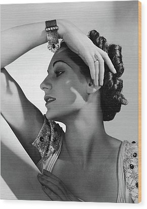 A Model Wearing Black Starr & Frost-gorham Wood Print by Horst P. Horst
