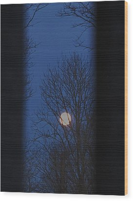 A Moon In A Blue Morning Wood Print