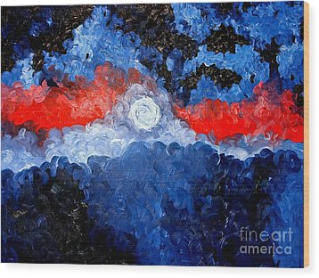A Moon Wood Print by Josh  Williams