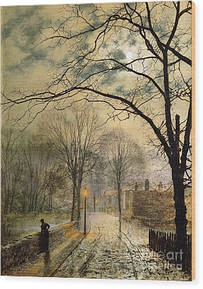 A Moonlit Stroll Bonchurch Isle Of Wight Wood Print by John Atkinson Grimshaw