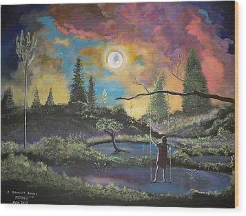 A Moonlit Swing Wood Print