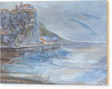 A Morning At The Sea Side Wood Print by Theo Brush