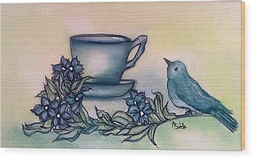 A Morning Visit Wood Print by Annamarie Sidella-Felts