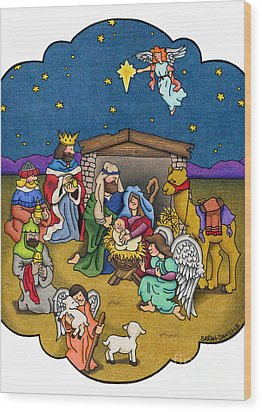 A Nativity Scene Wood Print by Sarah Batalka