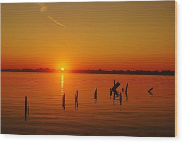 A New Day Dawns... Over Dock Remains Wood Print