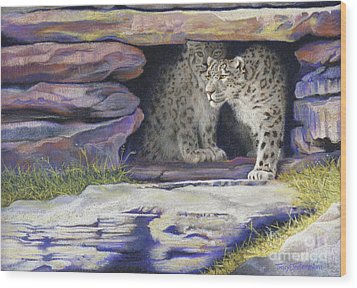 A New Day - Snow Leopards Wood Print by Tracy L Teeter