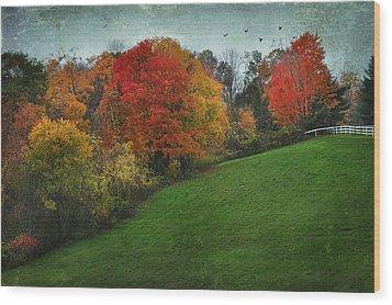 A New England Autumn Wood Print