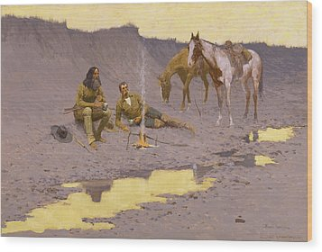 A New Year On The Cimarron Wood Print by Fredrick Remington