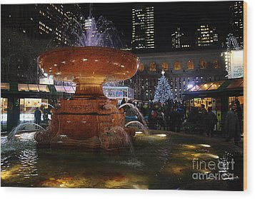 A Night In Bryant Park Wood Print by Nicholas Santasier