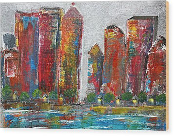 A Night In The City Wood Print by Melisa Meyers
