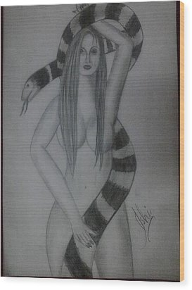 A Nude Woman Wood Print by Syeda Ishrat