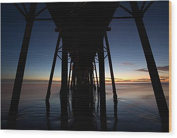 A Ocean Pier At Sunset In California Wood Print by Peter Tellone