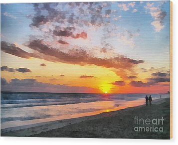 A Painting Of The Sunset At Sea Wood Print