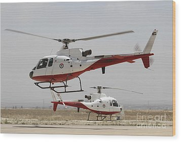 A Pair Of As350 Squirrel Helicopters Wood Print by Ofer Zidon
