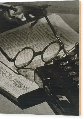 A Pair Of Glasses On Top Of A Newspaper Wood Print by Irving Browning