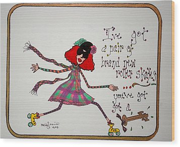 A Pair Of Rollerskates Wood Print by Mary Kay De Jesus