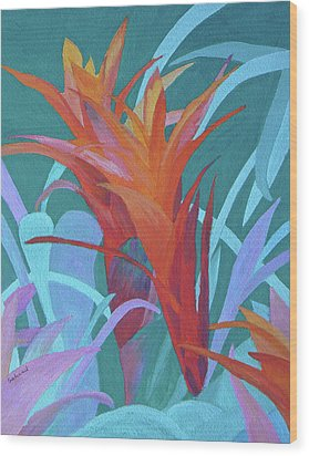 Wood Print featuring the painting A Pattern Of Bromeliads by Margaret Saheed