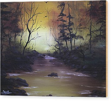 A Peaceful Evening Wood Print by Jamil Alkhoury